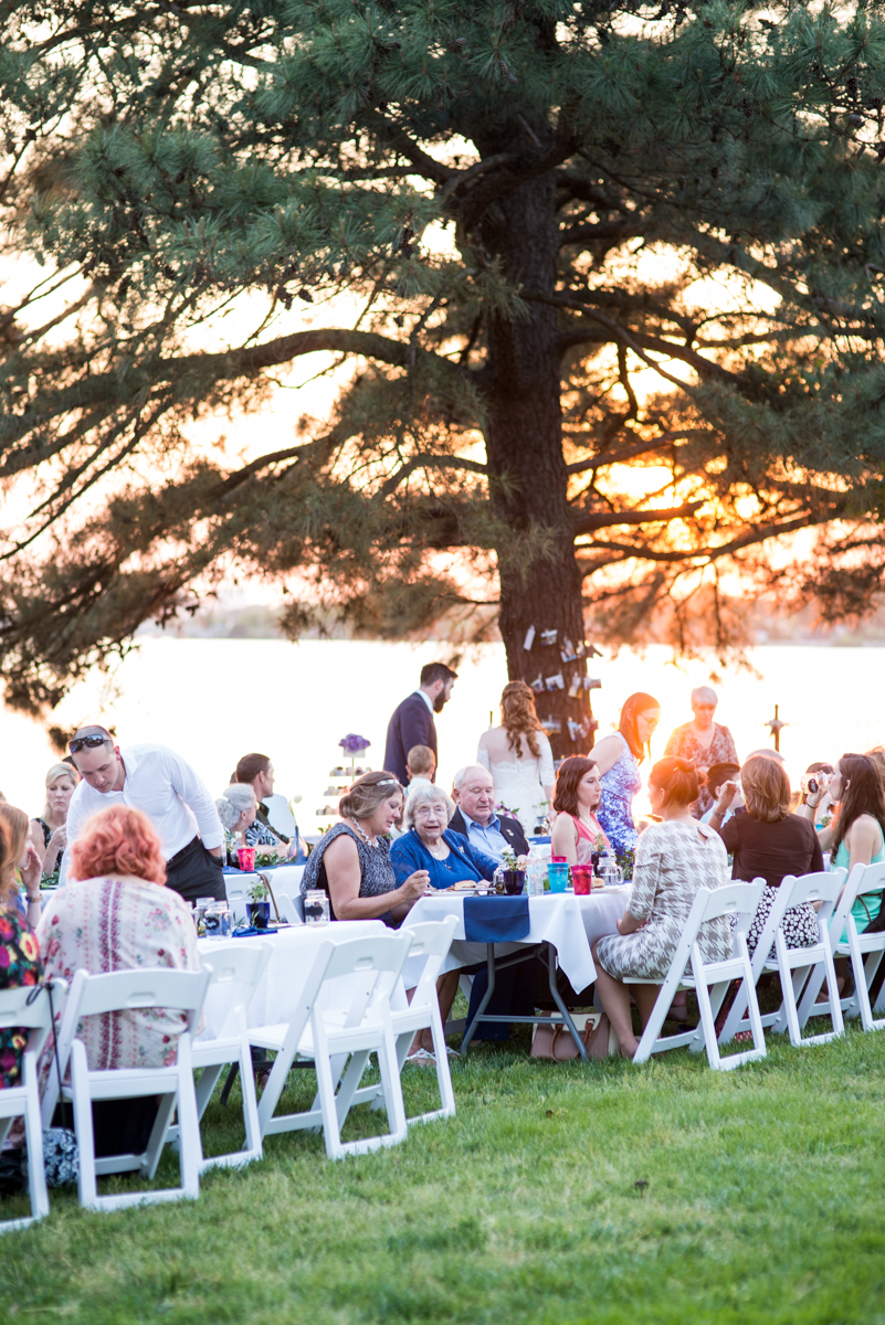 Intimate Backyard Summer Wedding on the Water | Outdoor wedding reception