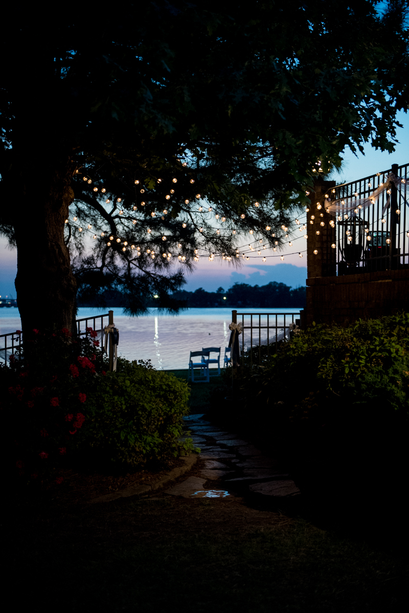 Intimate Backyard Summer Wedding on the Water | Sunset at wedding