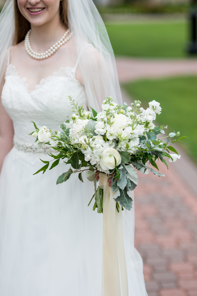 Green and White Bridal Bouquet with Stock, Ranunculus, and Sage