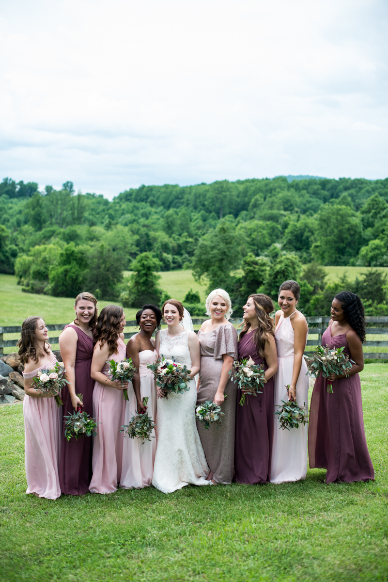 James Monroe Highland Wedding in Charlottesville | Mismatched purple and pink bridesmaid dresses