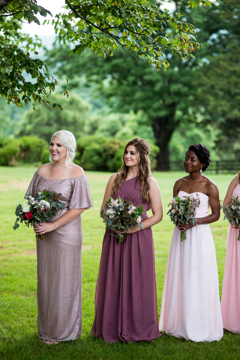 James Monroe Highland Wedding in Charlottesville | Mismatched bridesmaid dresses
