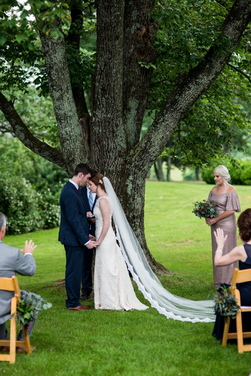 James Monroe Highland Wedding in Charlottesville | Bride and groom ceremony prayer