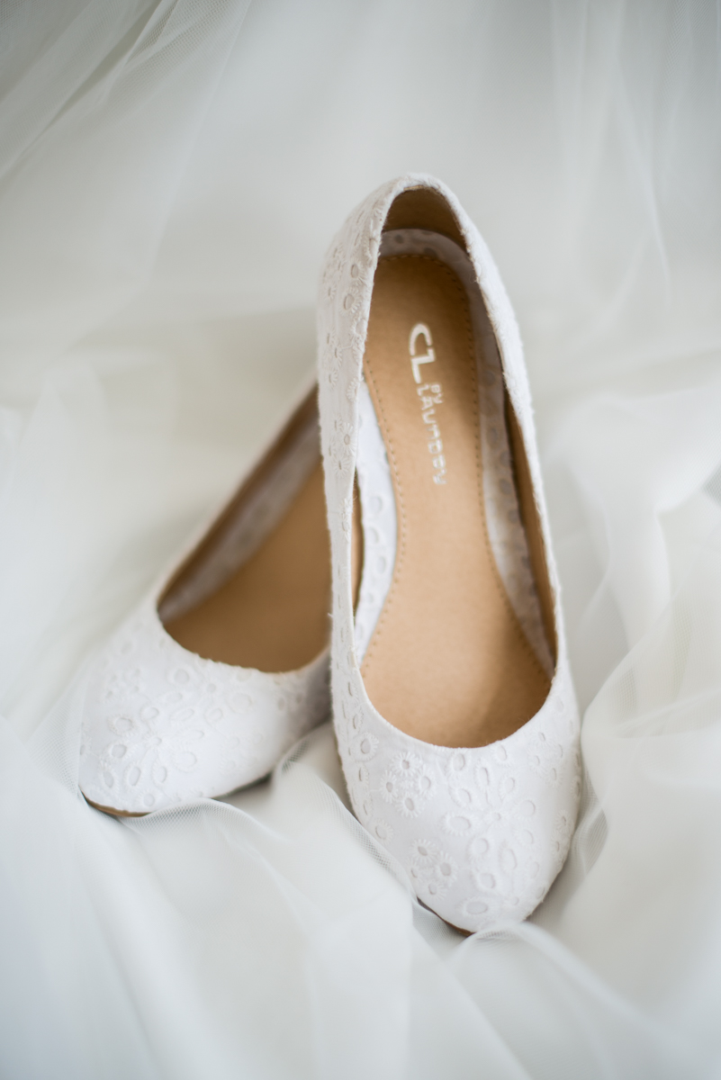 Yellow, Navy, and White Summer Wedding | White Wedding Shoes