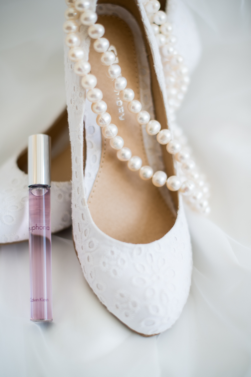 Yellow, Navy, and White Summer Wedding | White Wedding Shoes and Perfume