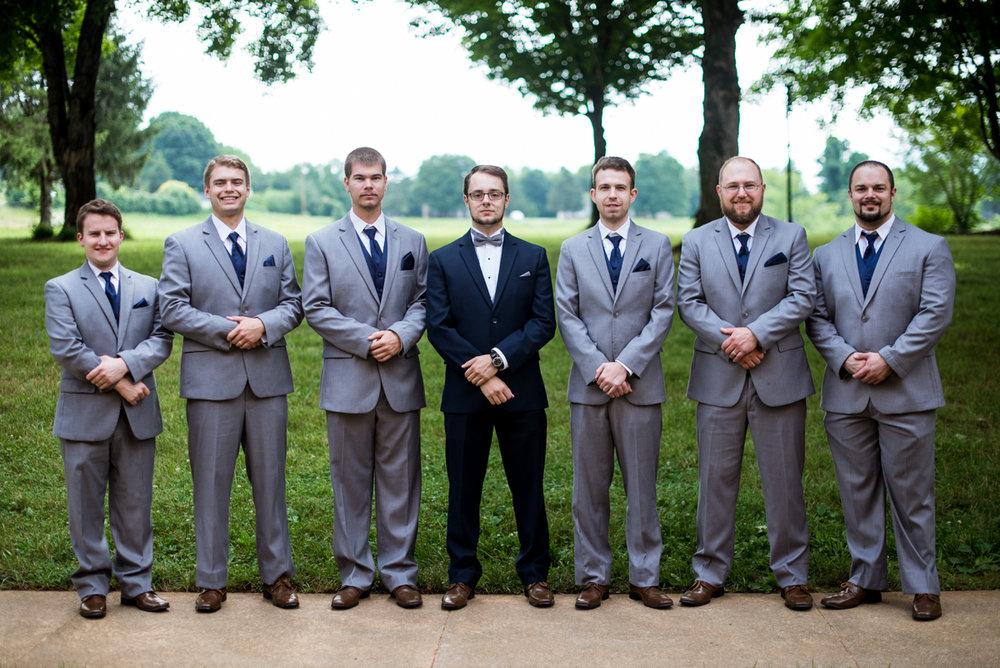 Yellow, Navy, and White Summer Wedding | Navy and gray groomsmen