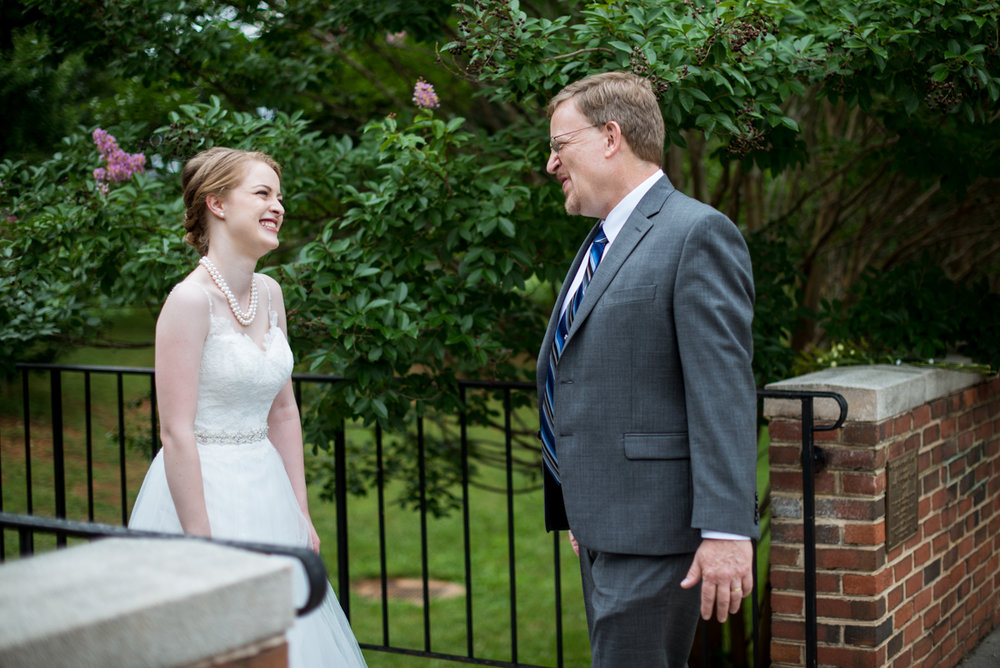 Yellow, Navy, and White Summer Wedding | First look with dad