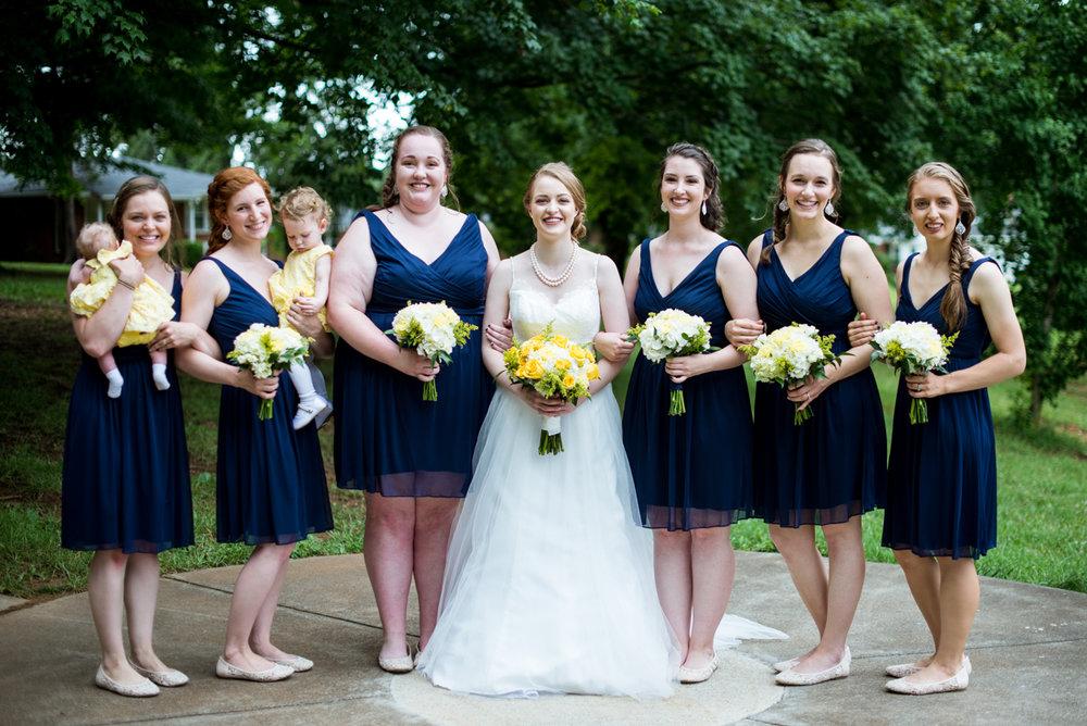 Yellow, Navy, and White Summer Wedding | Navy bridesmaid dresses
