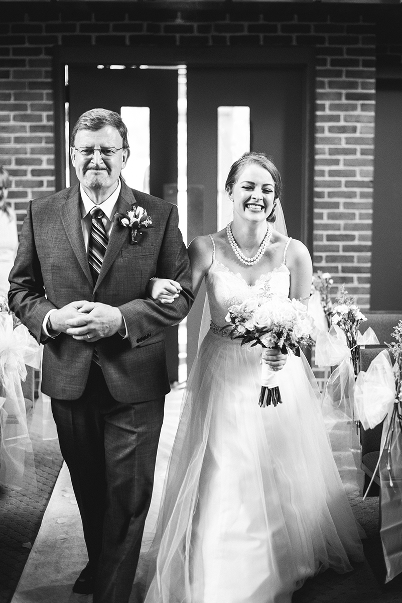 Yellow, Navy, and White Summer Wedding | Father walking bride down the aisle
