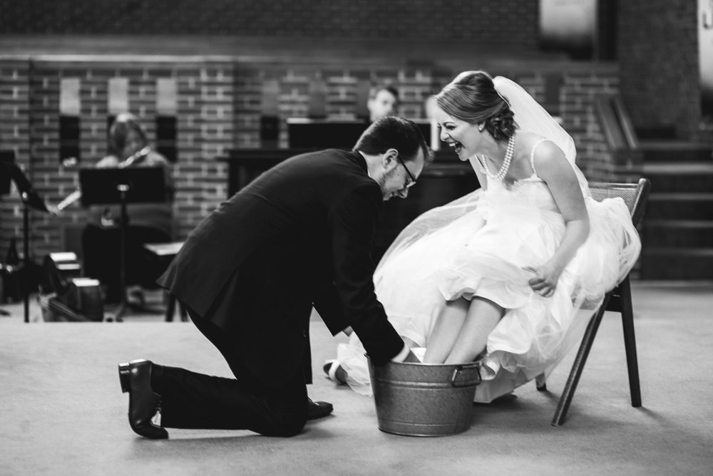 Yellow, Navy, and White Summer Wedding | Foot washing ceremony