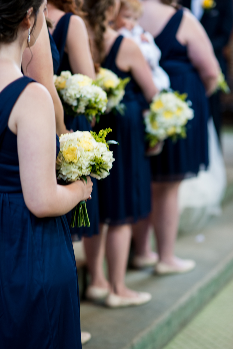 Yellow, Navy, and White Summer Wedding | White and yellow bridesmaid bouquets
