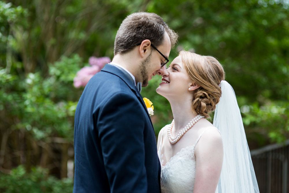 Yellow, Navy, and White Summer Wedding | Bride and groom portraits