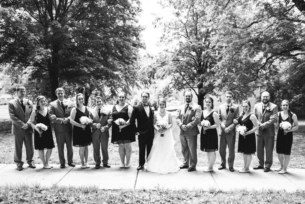 Yellow, Navy, and White Summer Wedding | Bridal party