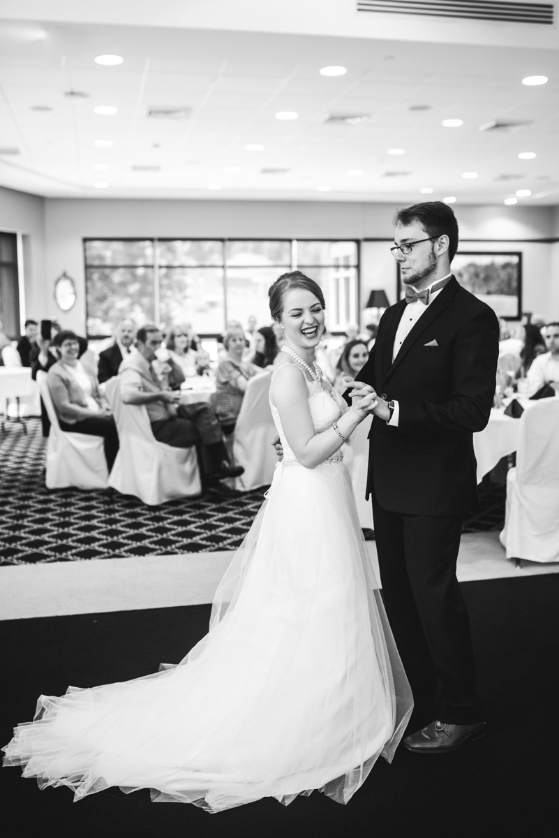 Yellow, Navy, and White Summer Wedding | Bride and groom first dance