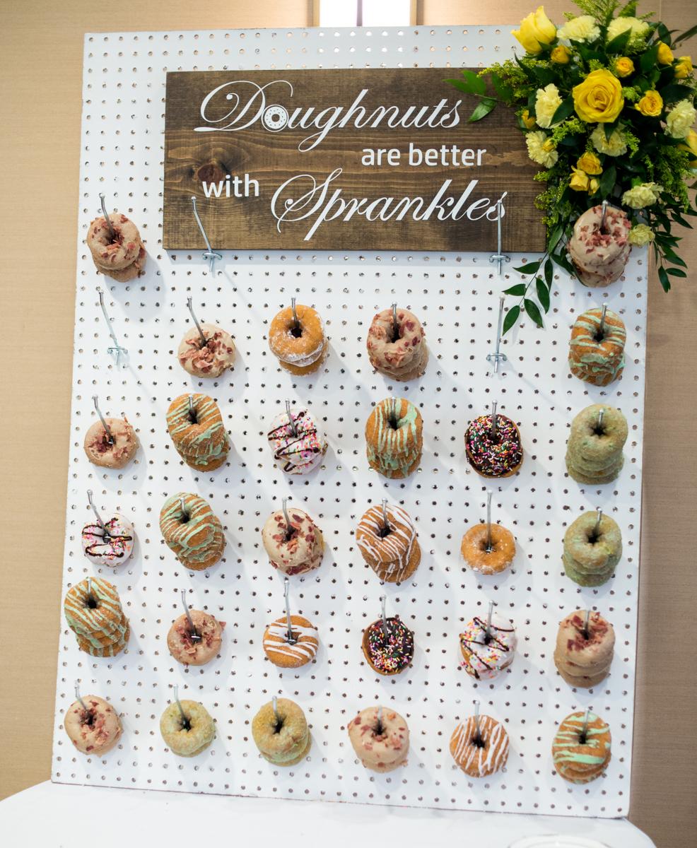 Yellow, Navy, and White Summer Wedding | Wedding doughnut wall