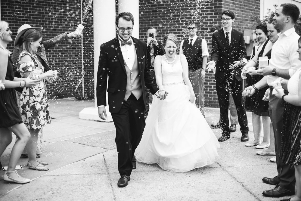 Yellow, Navy, and White Summer Wedding | Wedding sprinkle exit