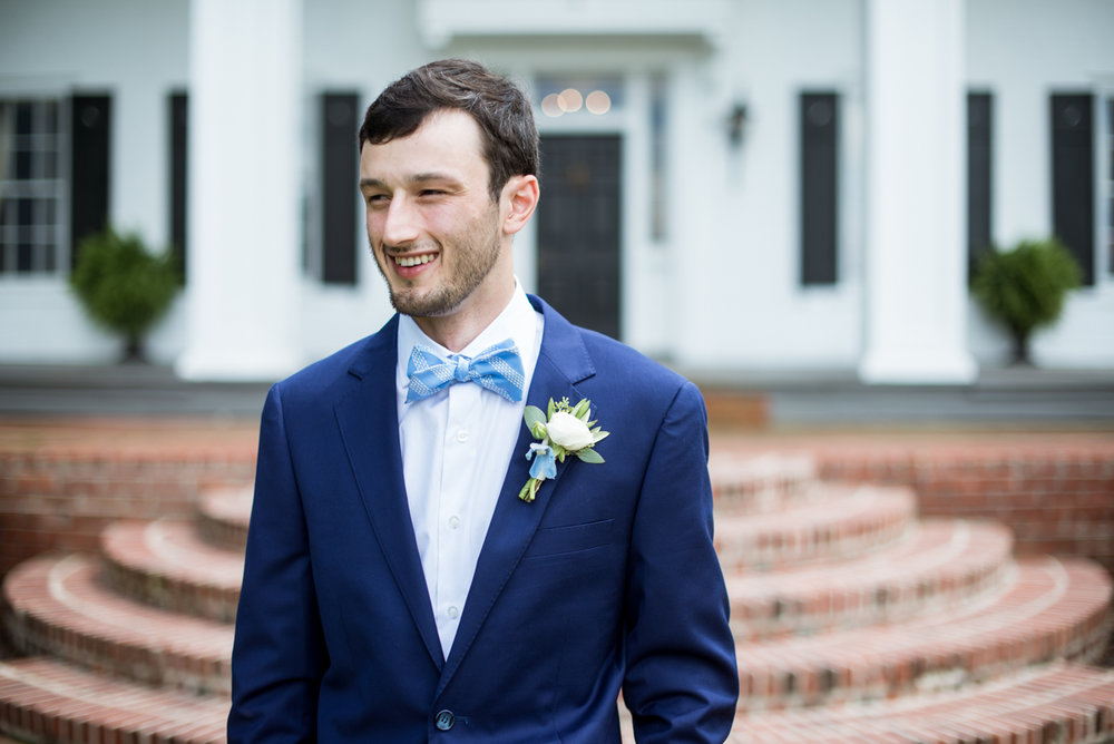 Navy and White Summer Wedding | Groom waiting for bride