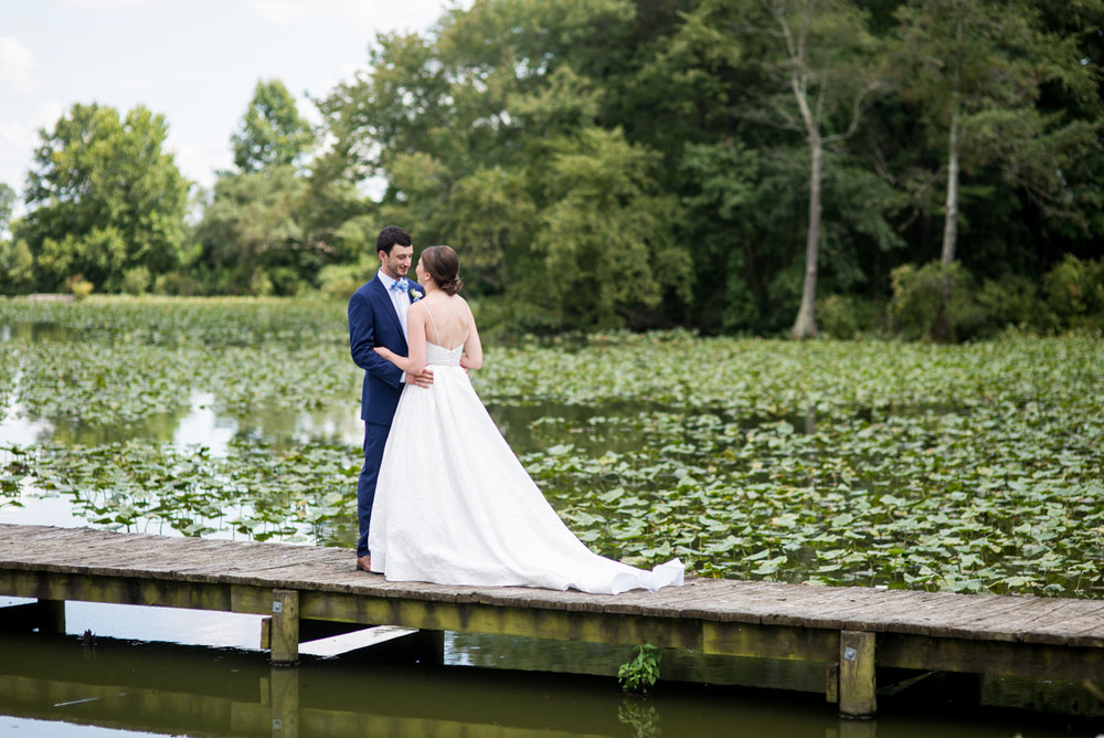 Navy and White Summer Wedding | First Look on a Dock