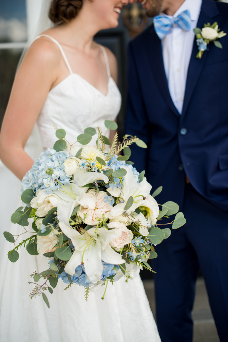 Navy and White Summer Wedding | Blue, White, and Blush Bridal Bouquet