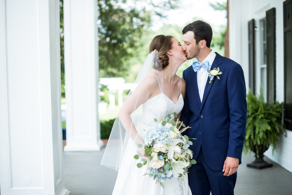 Navy and White Summer Wedding | Bride and Groom Portrais