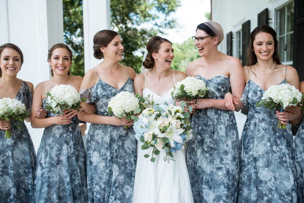 Navy and White Summer Wedding | Blue Watercolor Bridesmaid Dresses