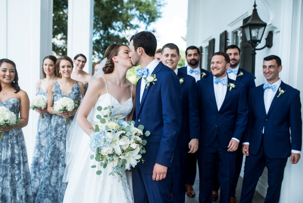 Navy and White Summer Wedding | Navy Blue and White Bridal Party