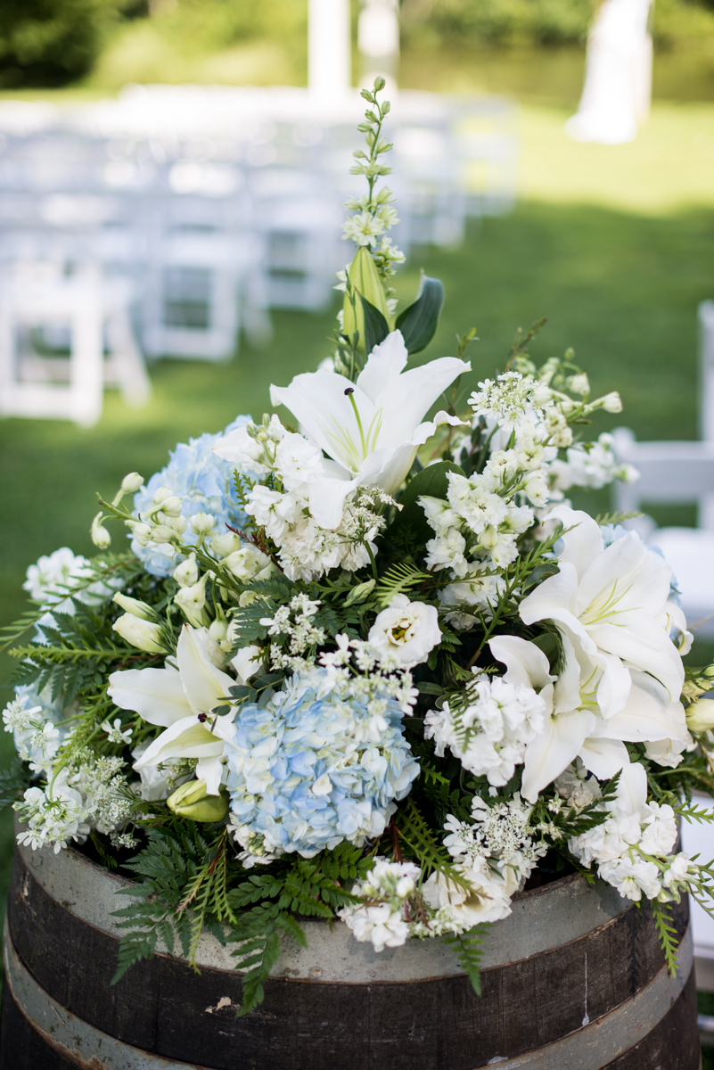 Navy and White Summer Wedding | Blue and white barrel flowers