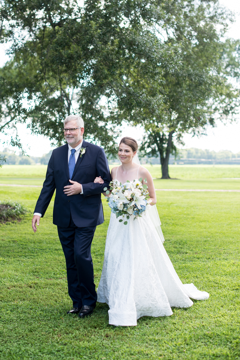 Navy and White Summer Wedding | Father walking bride down the aisle
