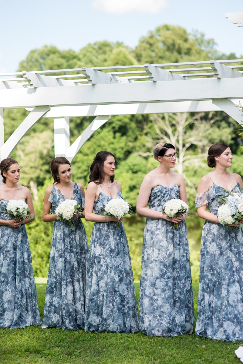 Navy and White Summer Wedding | Blue and white watercolor bridesmaid dresses