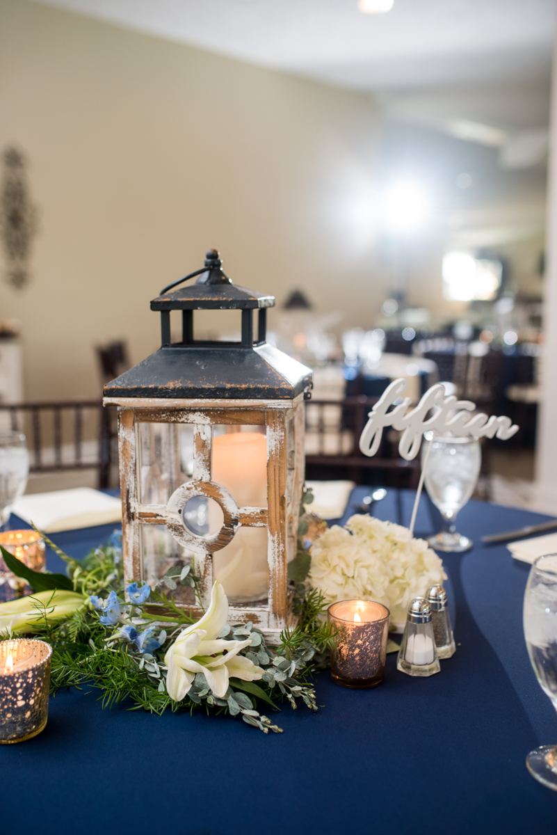 Navy and White Summer Wedding | Navy and White Reception with Lanterns