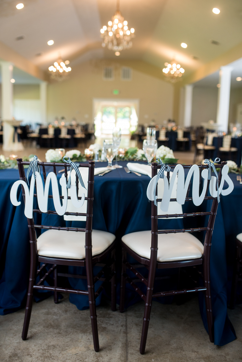 Navy and White Summer Wedding | Mr and Mrs Reception Chairs
