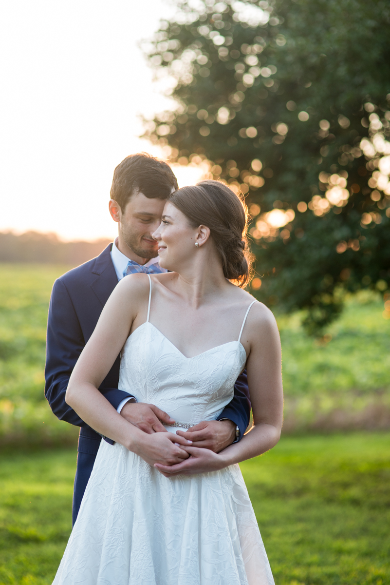 Navy and White Summer Wedding | Bride and Groom Sunset Portraits