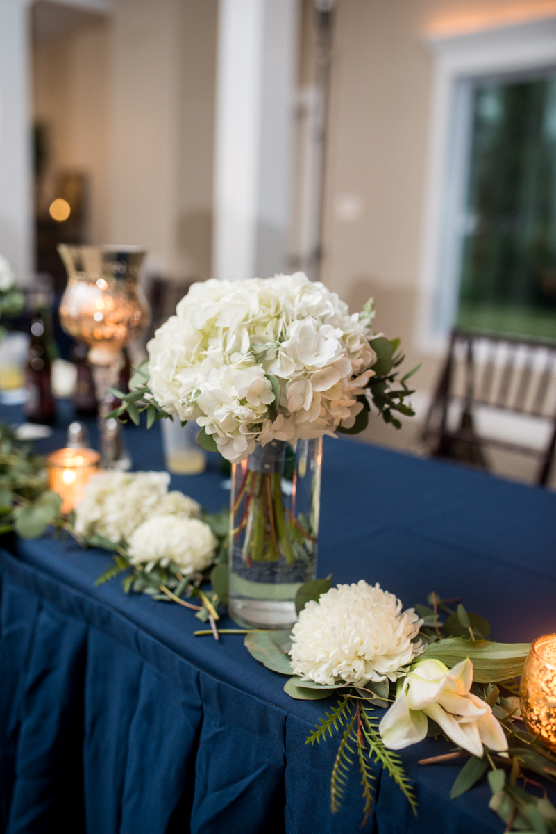 Navy and White Summer Wedding | White reception flowers