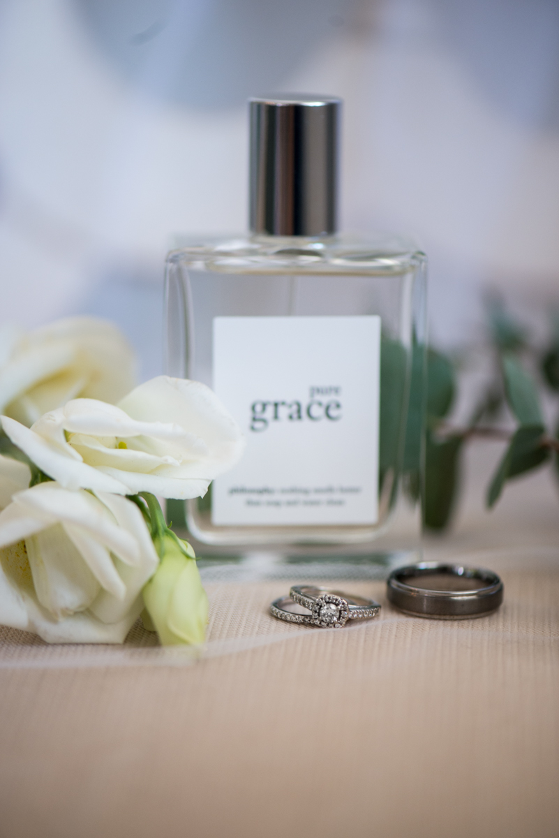 Minimalist White and Green Summer Wedding | Bridal Perfume and Details