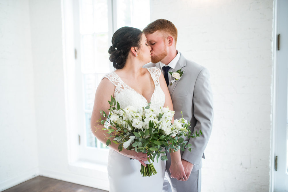 Minimalist White and Green Summer Wedding | Bride and Groom Portraits
