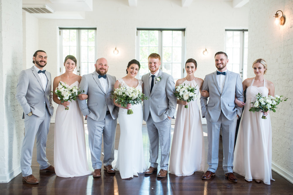 Minimalist White and Green Summer Wedding | Gray Groomsmen Suits and Blush Bridesmaid Dresses