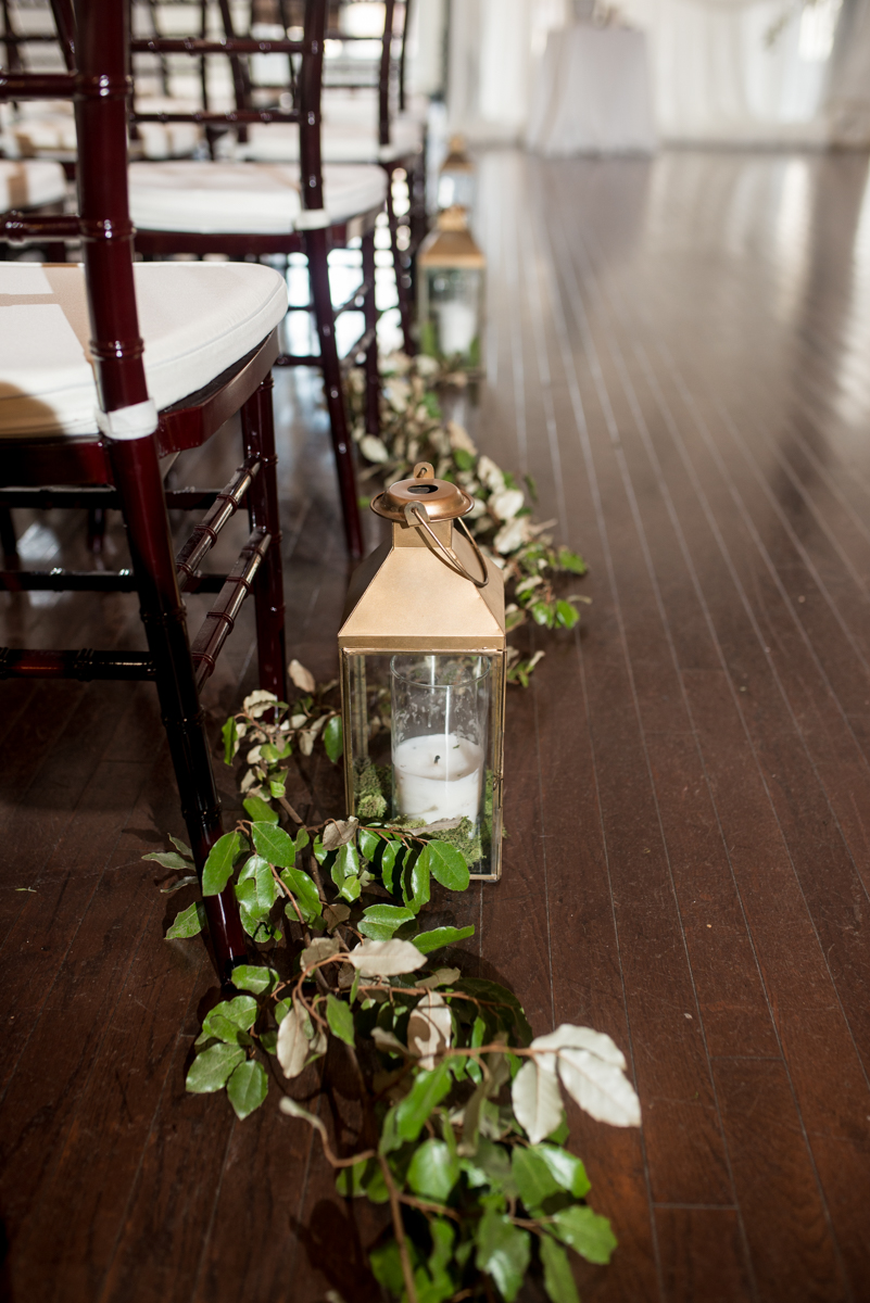 Minimalist White and Green Summer Wedding | Greenery and Lantern Ceremony Aisle