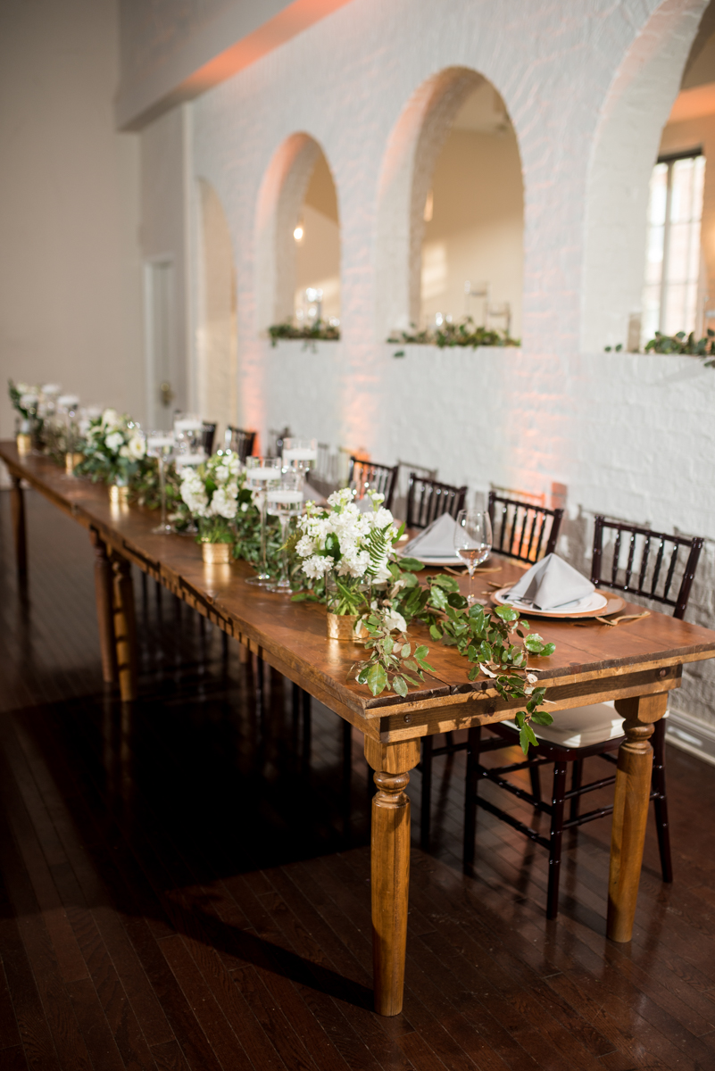 Minimalist White and Green Summer Wedding | Elegant Wood, White, and Green Head Table