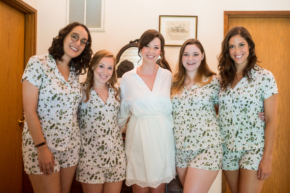 Scottish Themed Wedding with Burgundy and Copper | Bridesmaids in matching pajamas