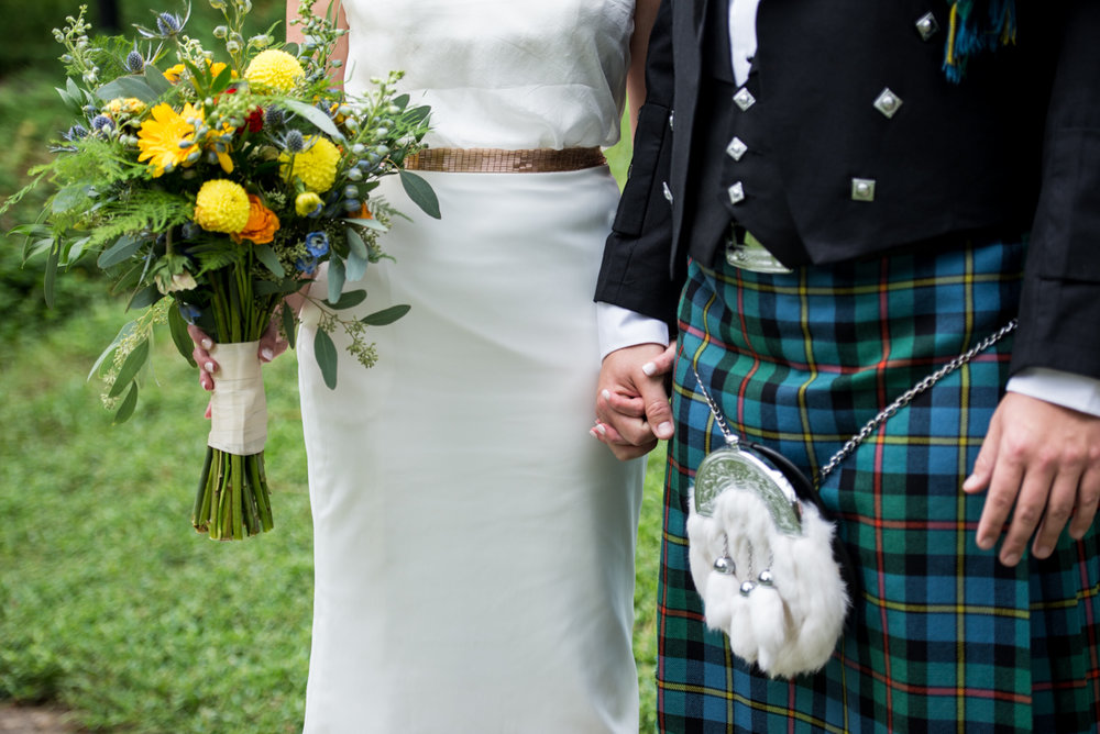 Scottish Themed Wedding with Burgundy and Copper | Brides Wildflower Bouquet and Groom's Kilt