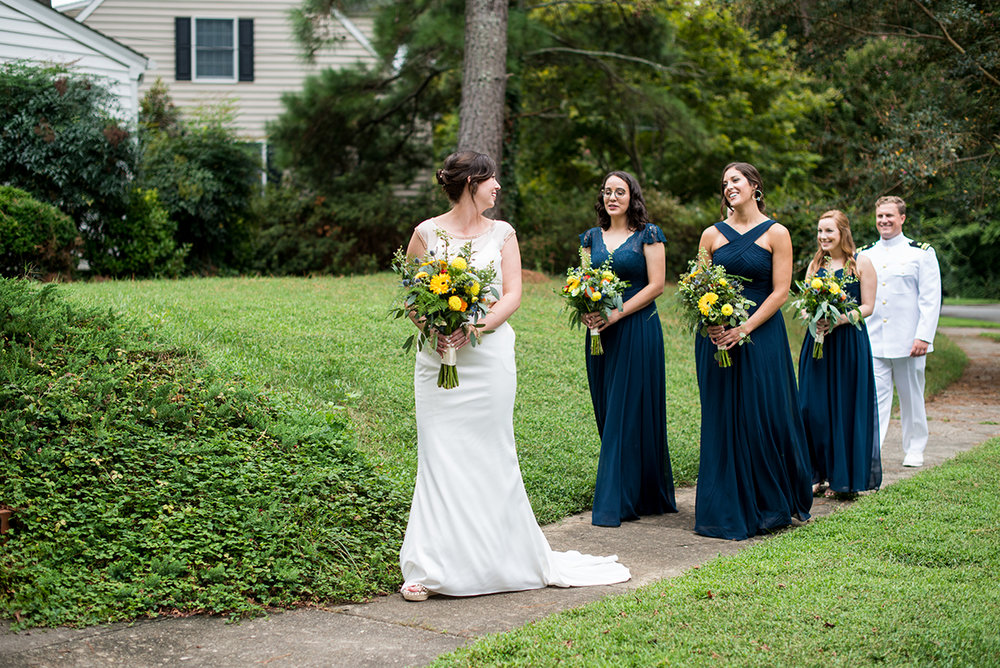 Scottish Themed Wedding with Burgundy, Navy, and Copper   Bride with Bridesmaids Walking