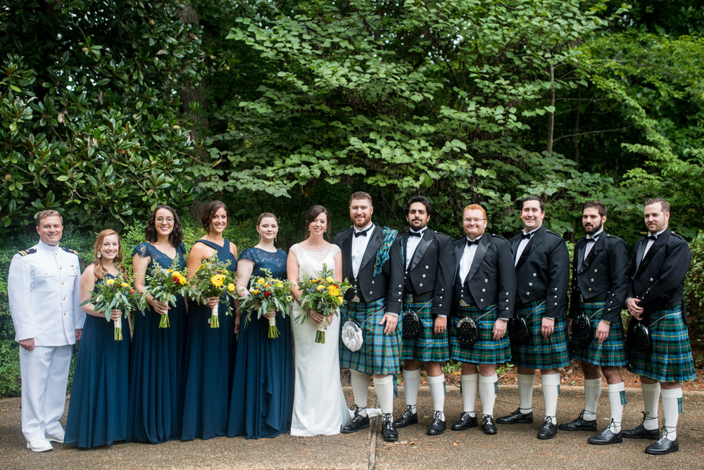 Scottish Themed Wedding with Burgundy, Navy, and Copper | Bridal Party with Navy Tartan Kilts