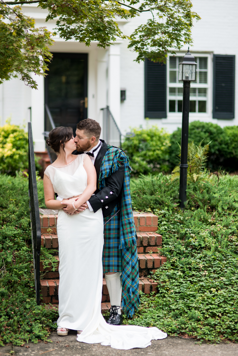 Scottish Themed Wedding with Burgundy, Navy, and Copper | Bride and Groom Portraits