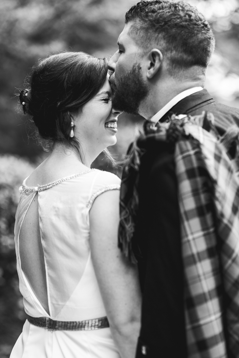 Scottish Themed Wedding with Burgundy, Navy, and Copper   Bride and Groom Portraits