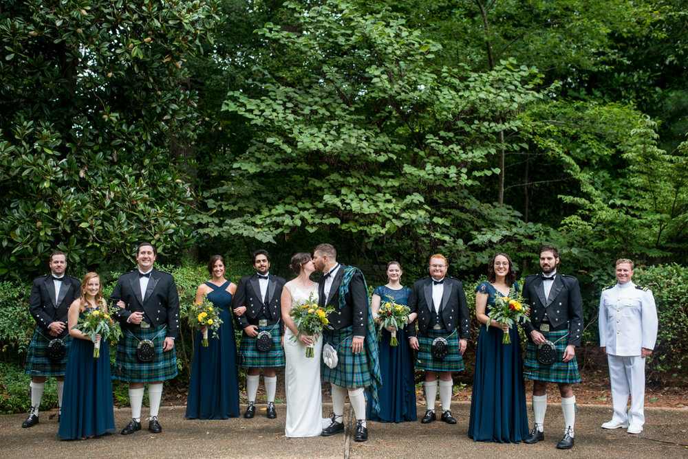 Scottish Themed Wedding with Burgundy, Navy, and Copper   Bridal Party with Navy and Tartan Kilts