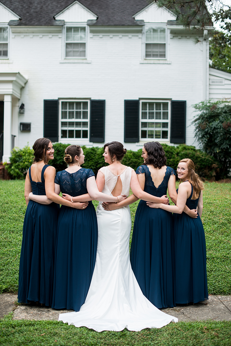 Scottish Themed Wedding with Burgundy, Navy, and Copper | Bridal party dress backs