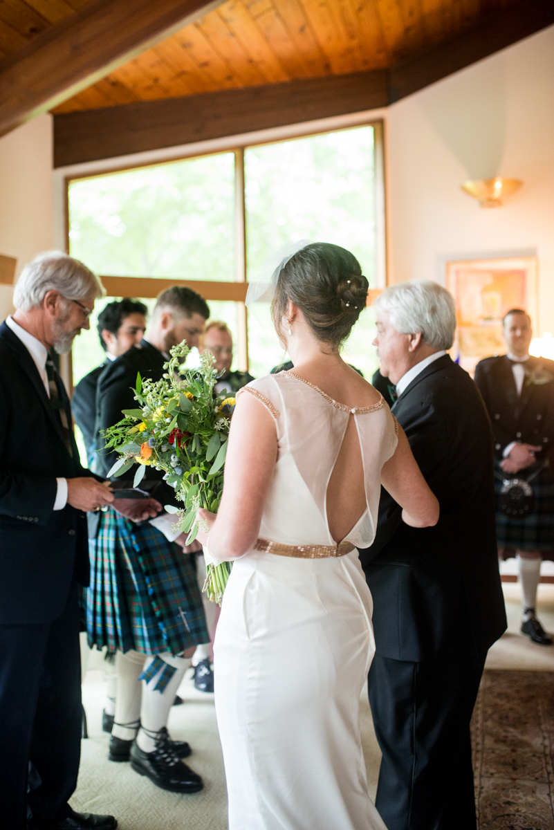 Scottish Themed Wedding with Burgundy, Navy, and Copper   Bride walking down aisle