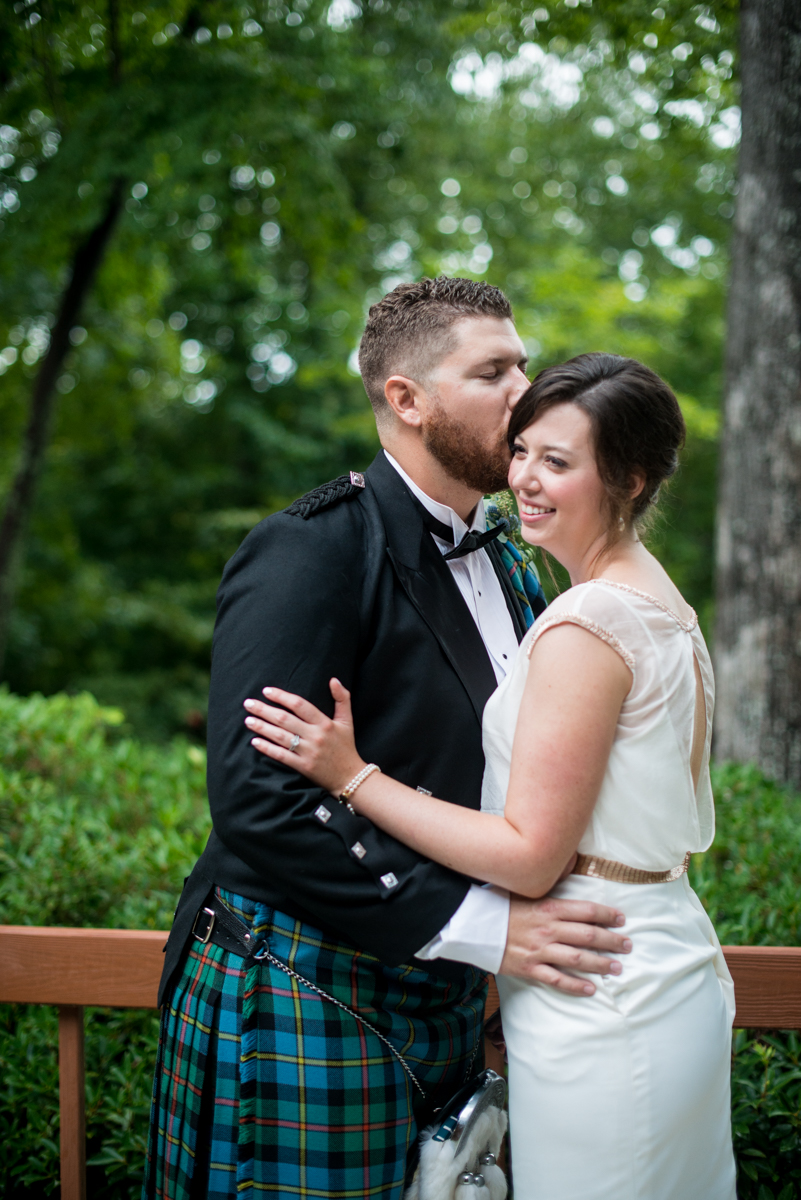 Scottish Themed Wedding with Burgundy, Navy, and Copper | Bride and Groom Sunset Portraits