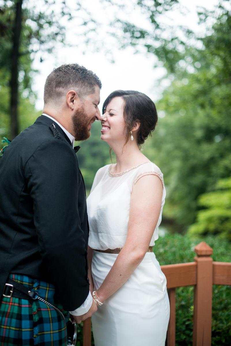 Scottish Themed Wedding with Burgundy, Navy, and Copper   Bride and Groom Sunset Portraits