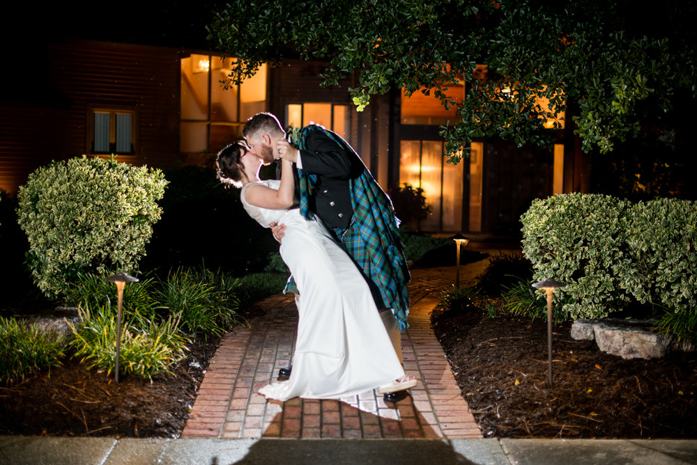 Scottish Themed Wedding with Burgundy, Navy, and Copper   Bride and Groom Night Shot