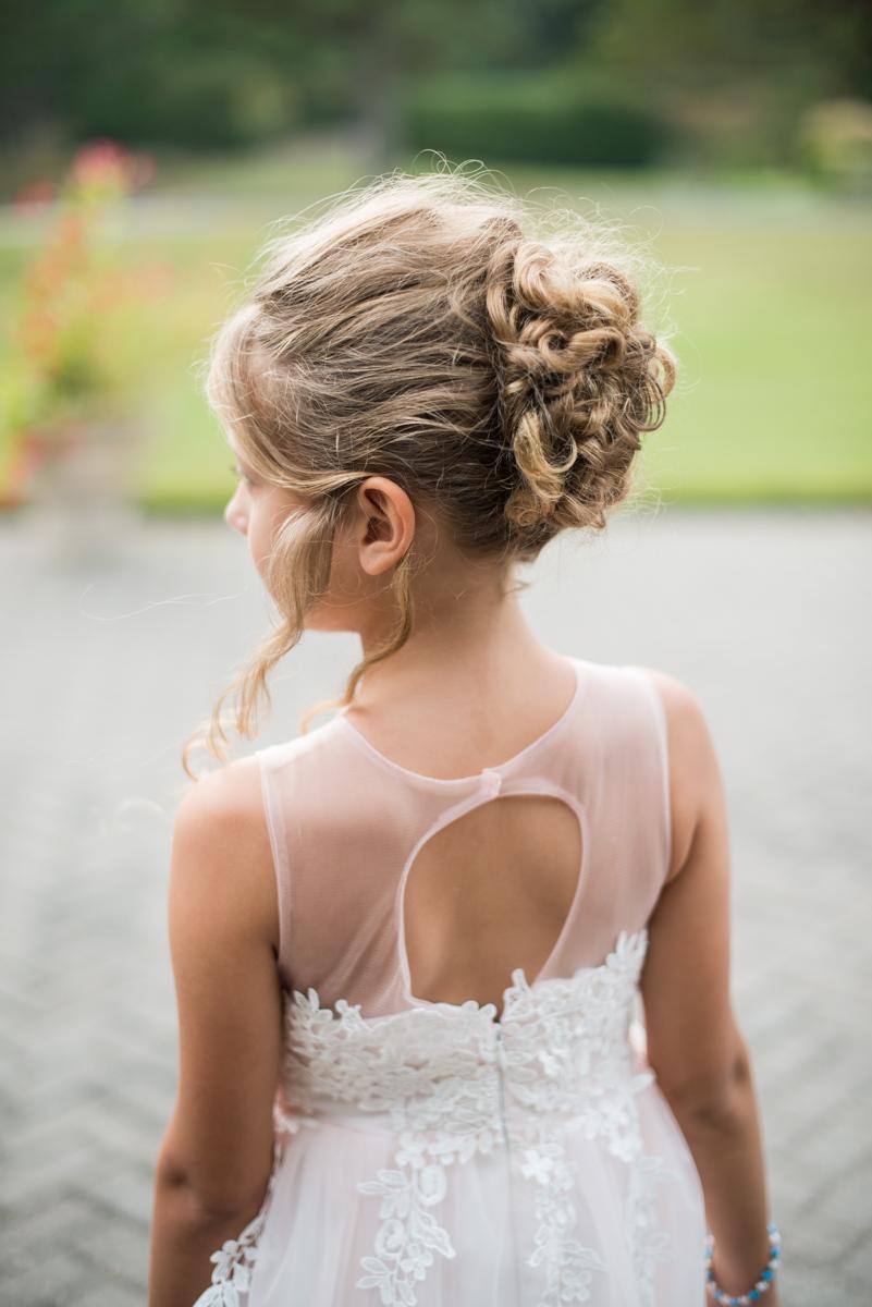 Blush and Burgundy Garden Wedding | Blush pink flower girl dress